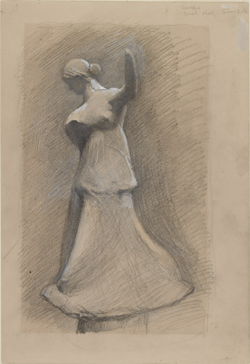Recto: Study of a Greek Terracotta of a Girl dancing <br />Verso: Two stylised profile Faces (WA.RS.RUD.052.a, Ruskin, John - Study of a Greek Terracotta of a Girl dancing ())