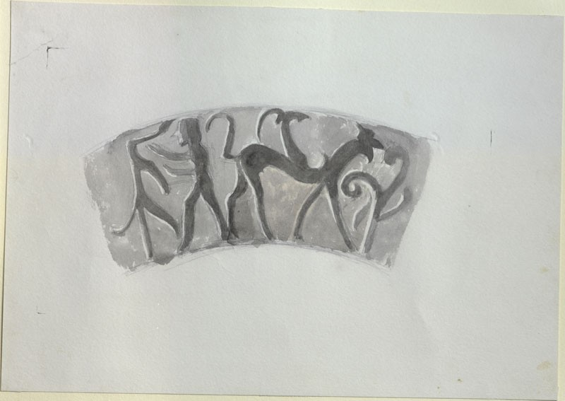 Enlarged Drawing of Part of the Ornament on an Etruscan Cup