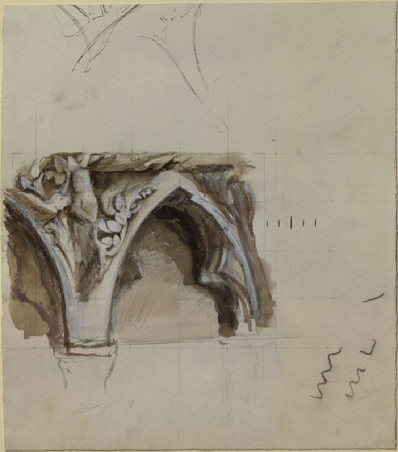 Sketch of a Spandril in the western Porch of Bourges Cathedral (WA.RS.RUD.081, Ruskin, John - Sketch of a Spandril in the western Porch of Bourges Cathedral ())