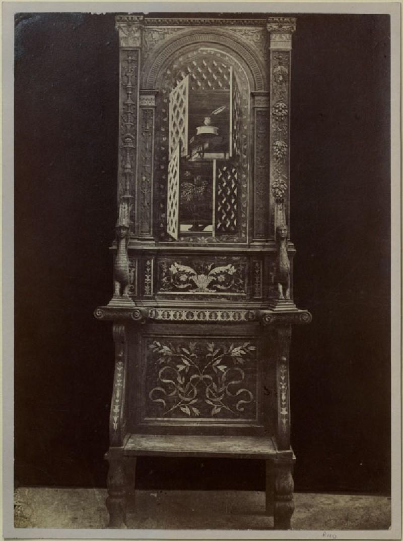 Photograph of one of Fra Giovanni da Verona's intarsiated Choir Stalls from Santa Maria in Organo, Verona