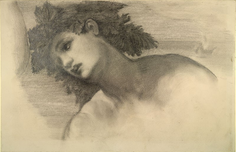 Study of the Head of Bacchus in Tintoretto's 'The Marriage of Bacchus and Ariadne in the Presence of Venus', before the Picture was restored (WA.RS.RUD.113, Burne-Jones, Edward - Study of the Head of Bacchus in Tintoretto's