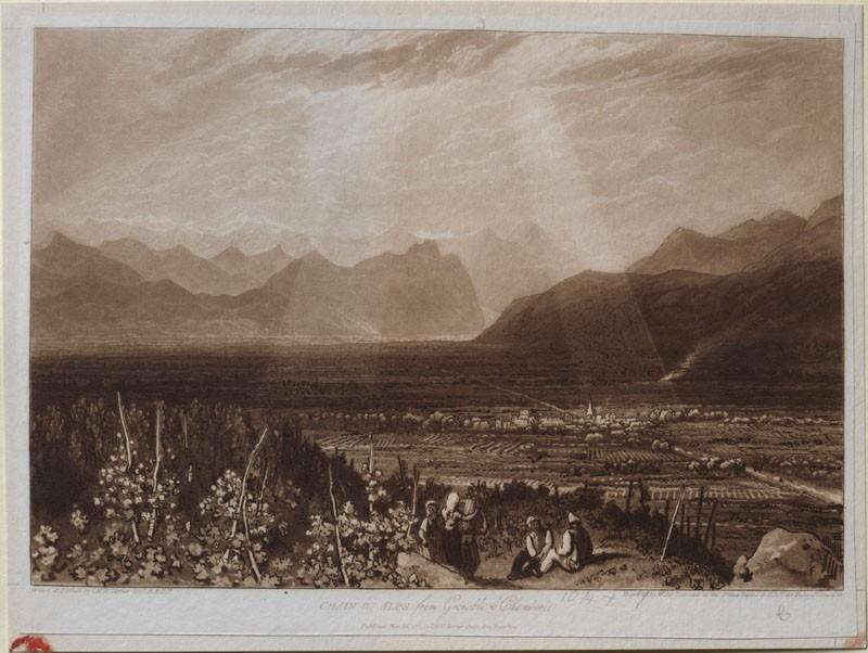 Chain of Alps from Grenoble to Chamberi (from the Liber Studiorum) (WA.RS.RUD.167, Turner, Joseph Mallord William - Liber Studiorum - Chain of Alps from Grenoble to Chamberi ())
