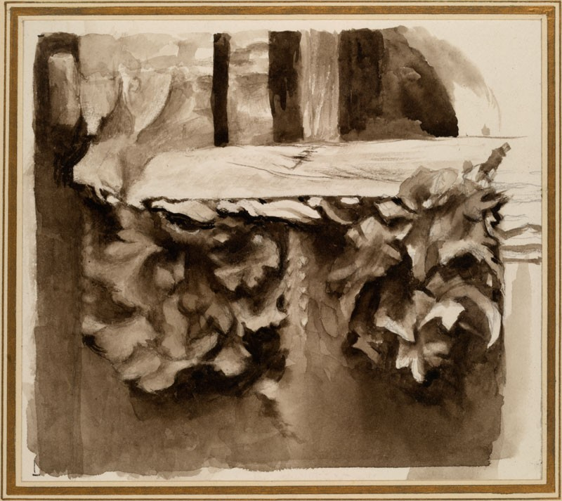 Sepia Sketch of Leafage, further carried: Study from Ruskin's Photograph of the Courtyard of a late Gothic wooden House at Abbeville