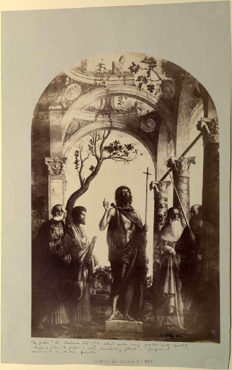Photograph of Cima da Conegliano's 'Saint John the Baptist with Saints Peter, Mark, Jerome and Paul' (WA.RS.STD.008, Carlo Naya (Firm) - Photograph of Cima da Conegliano's