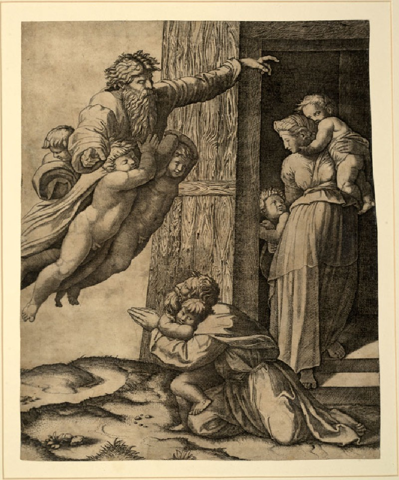 God commanding Noah to build the Ark (WA.RS.STD.015, Raimondi, Marcantonio, after Raphael - God commanding Noah to build the Ark ())