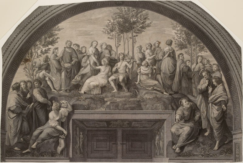Engraving of Raphael's Fresco of 'Parnassus' in the Stanza della Segnatura