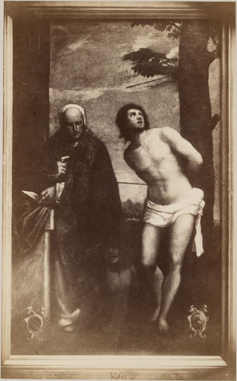 Photograph of Bonifacio Veronese's 'Saint Sebastian and Saint Bernard' (WA.RS.STD.021, Photograph of Bonifacio Veronese's Saint Sebastian and Saint Bernard)