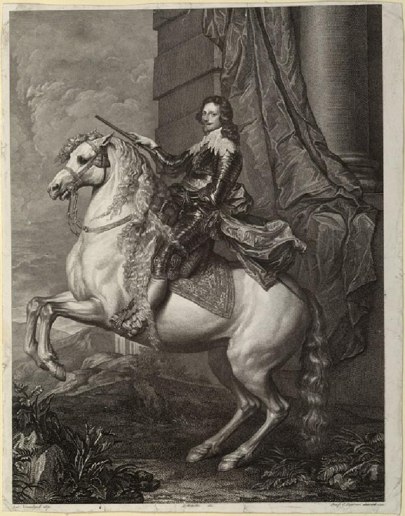 Engraving of van Dyck's Portrait of Prince Francesco Tommaso di Savoia-Carignano on horseback