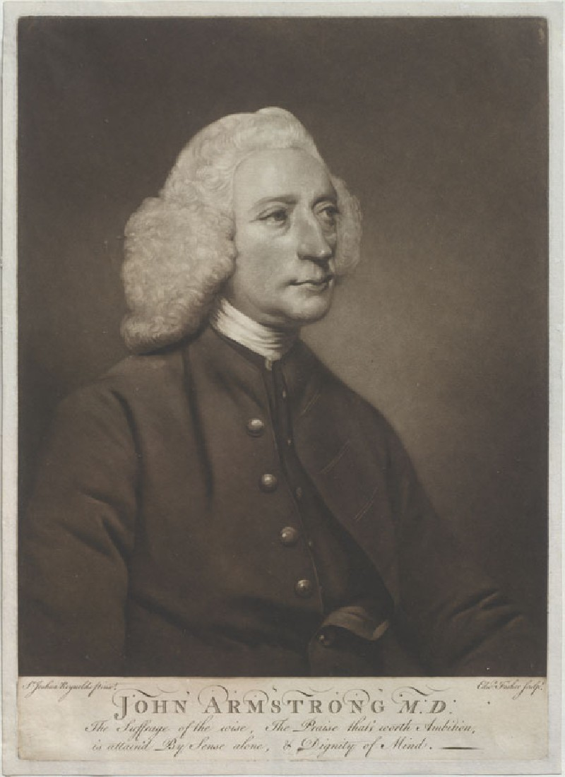 Mezzotint of Reynolds's 'Portrait of John Armstrong, M.D.' (WA.RS.STD.044, Fisher, Edward - Mezzotint of Reynolds's