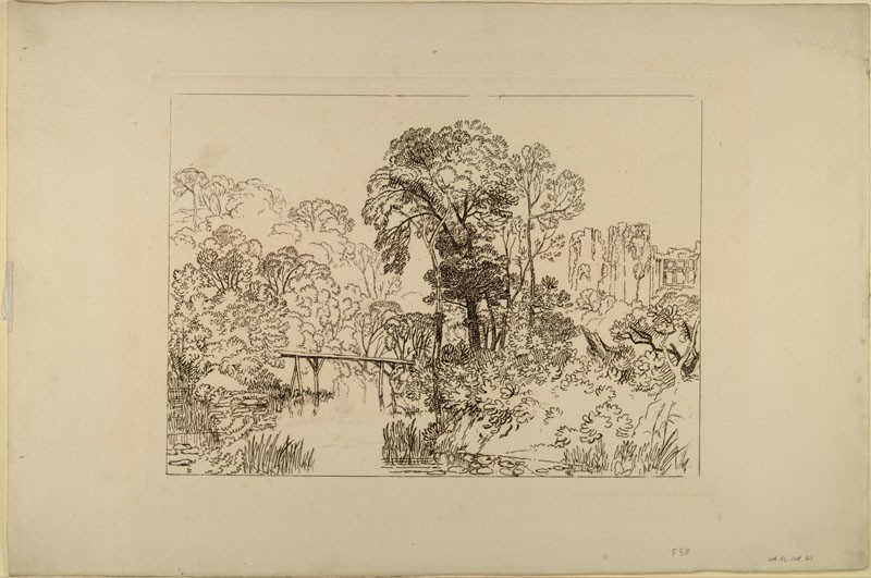 Berry Pomeroy Castle (from the Liber Studiorum) (WA.RS.SUP.161, Turner, Joseph Mallord William - Liber studiorum - Berry Pomeroy Castle ())