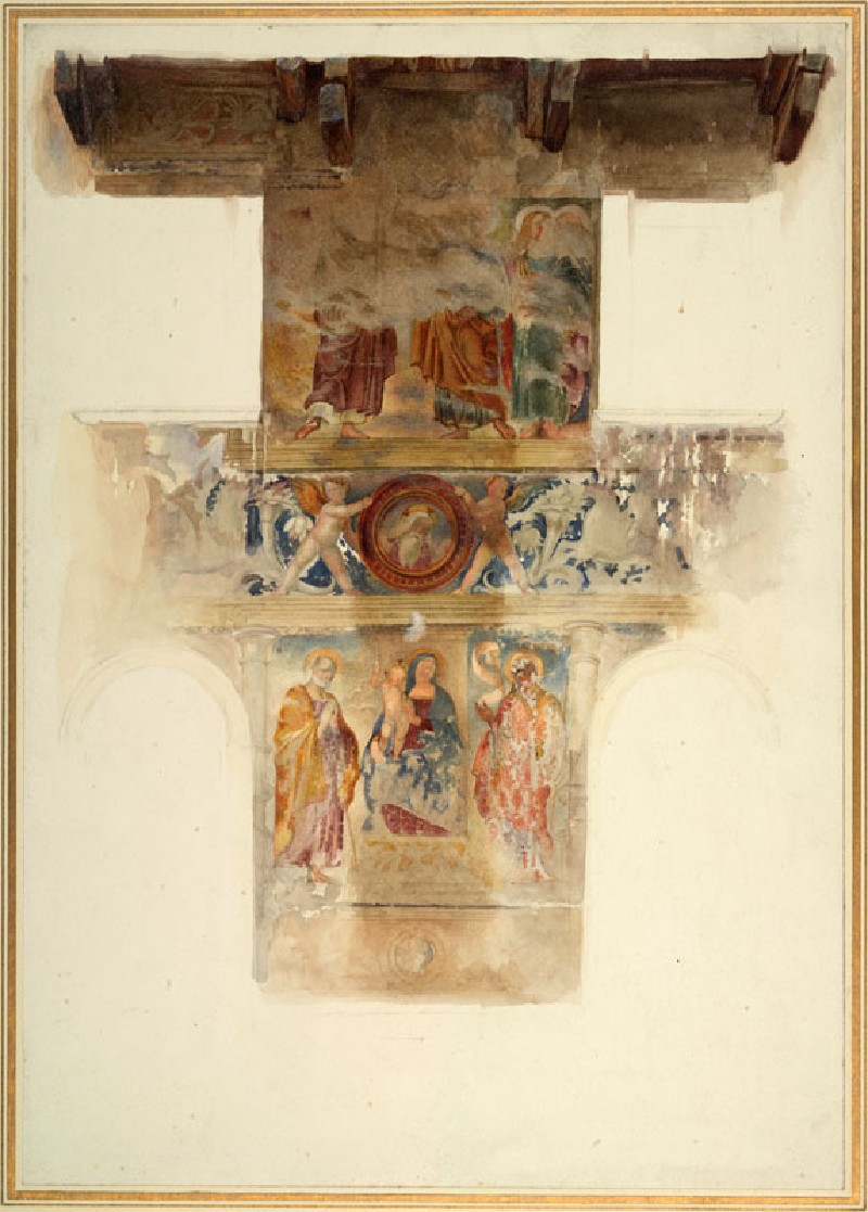 Drawing of Liberale da Verona's Frescoes of 'The Virgin and Child with Joseph and Saint John the Baptist' and 'The Four Evangelists', on the Façade of Piazza delle Erbe 23, Verona