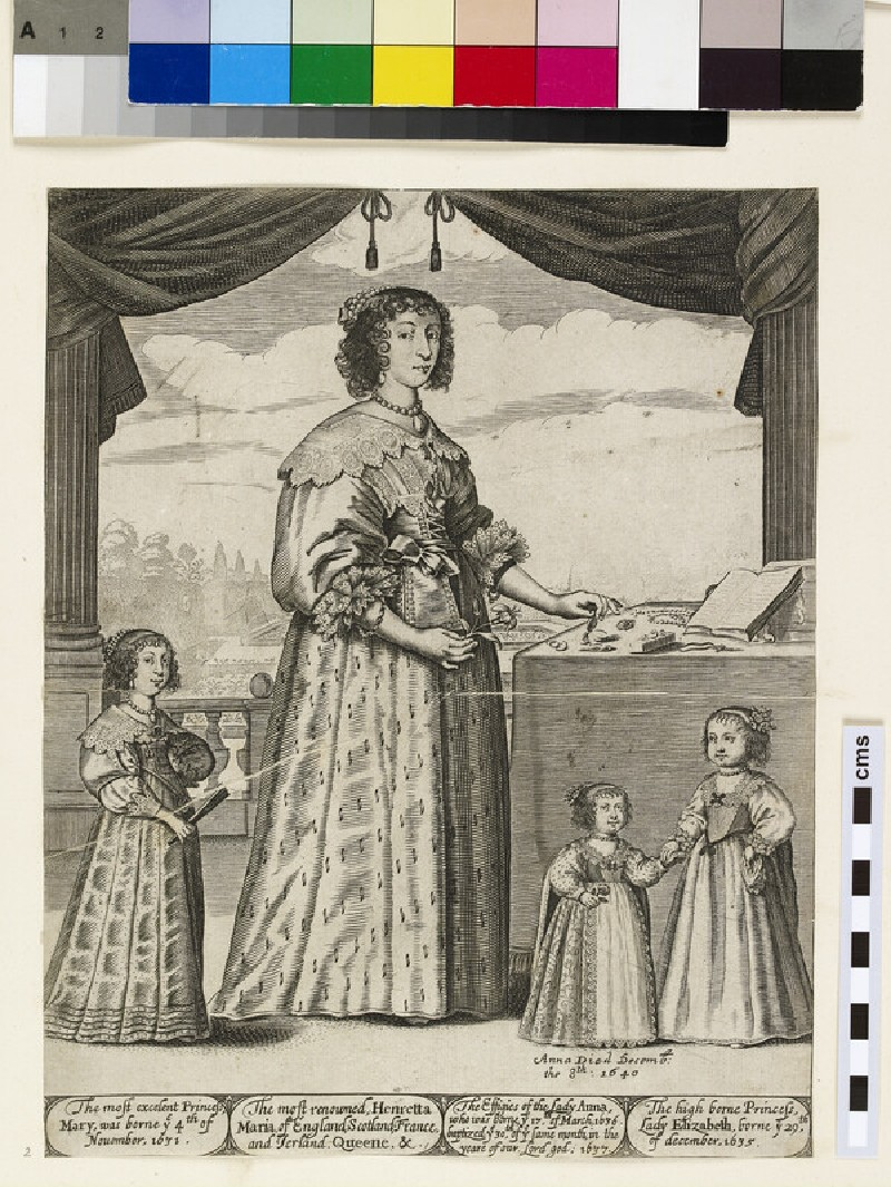 Portrait of Henrietta Maria (1609-1669) standing on a terrace with her daughters Princess Mary, Princess Elizabeth and Princess Anna (d. 1640)