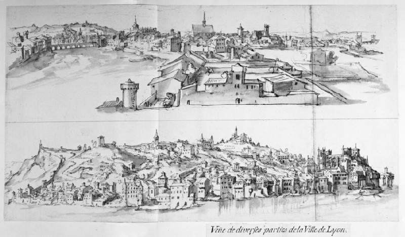 Two panoramic Views of Lyons: above, View across the city, looking towards Notre-Dame de Fourvières, and below, Distant View with the River Rhône on left and the Cathedral of Saint-Jean at centre