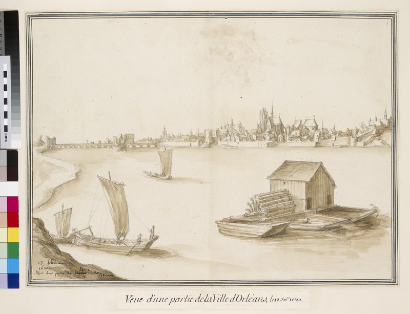 View of Orléans from the south Bank of the Loire, with a floating Mill in the foreground (WA.Suth.L.2.113)