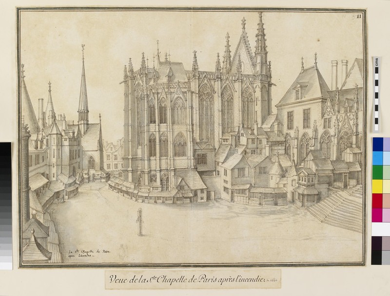 View of the Saint-Chapelle in Paris, facing south
