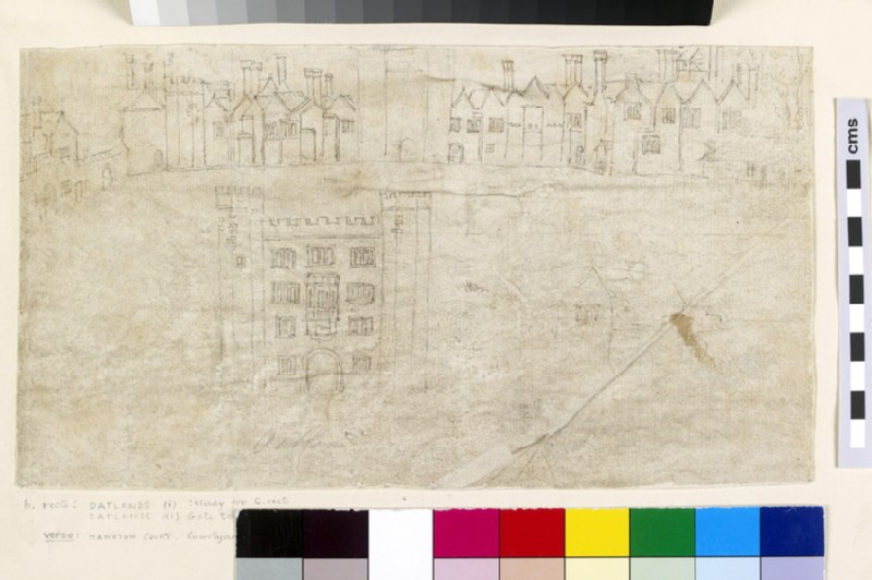 Recto: Buildings along the South Front of Oatlands Palace