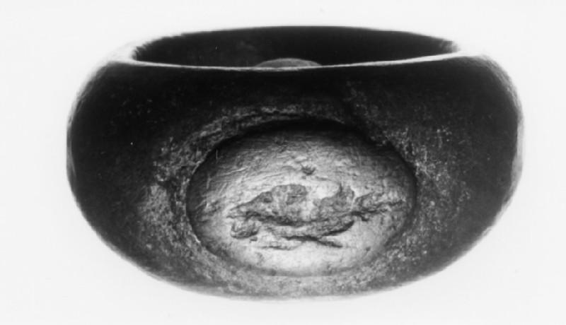 Intaglio gem in a copper-alloy finger-ring, Zeus Sarapis