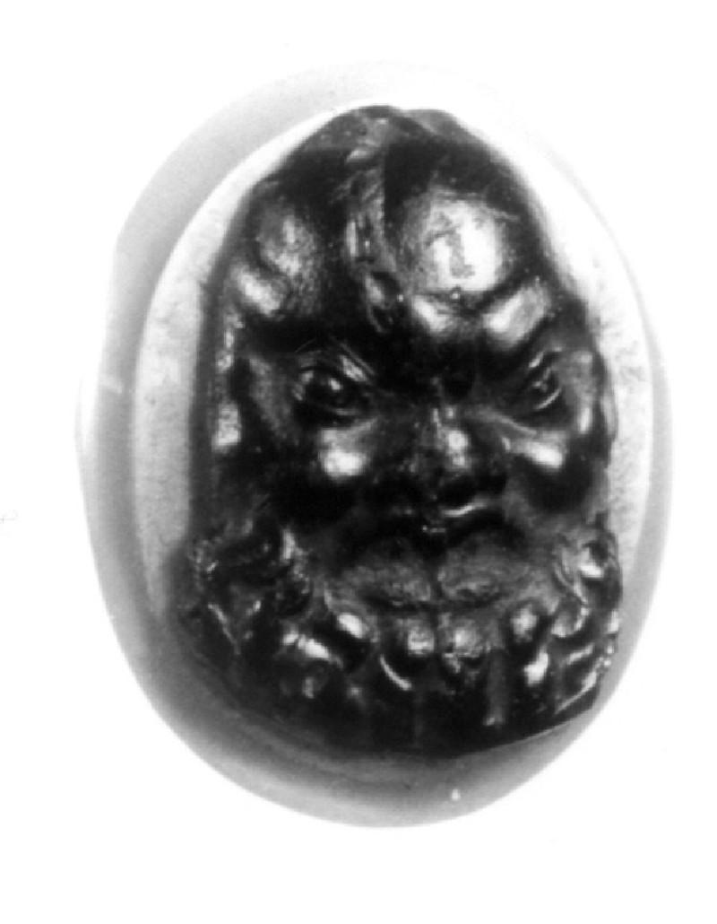 Intaglio gem, Satyr mask (AN1888.486, record shot)