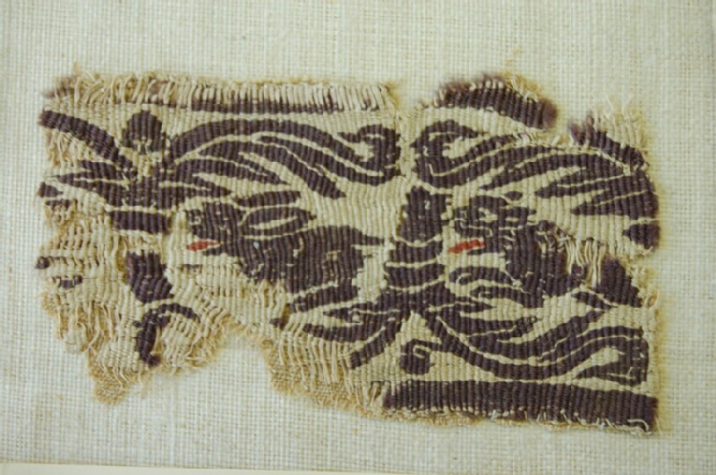 Tapestry fragment included in a plain tabby weave (AN1889.66.e, record shot)