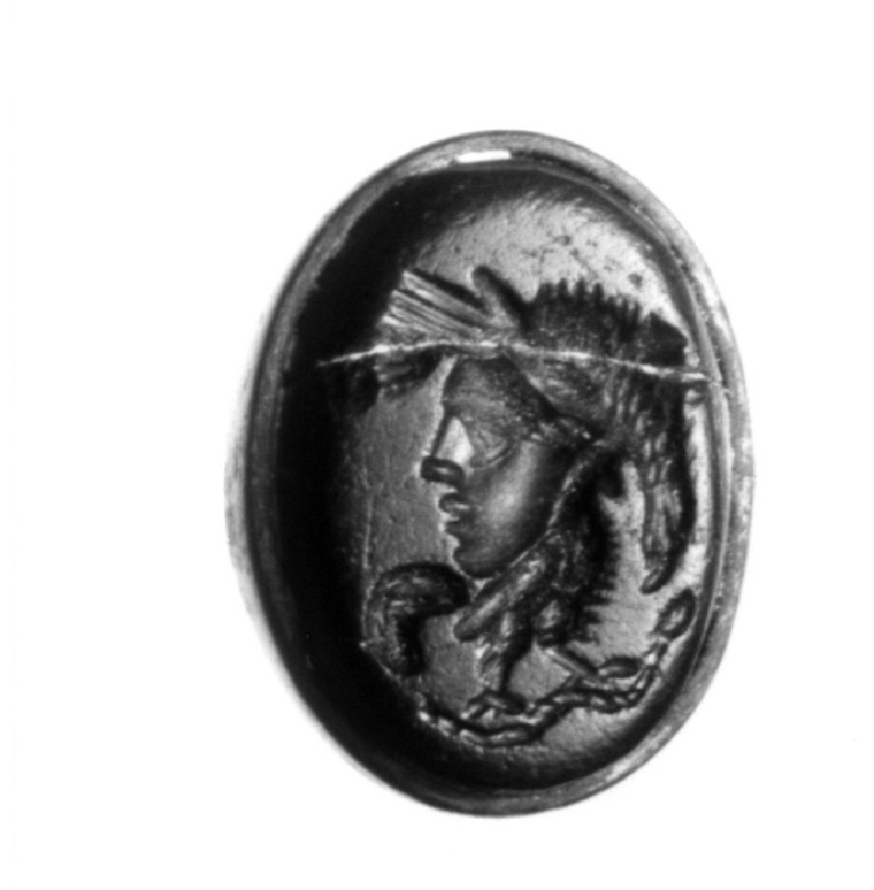 Intaglio gem, combination, human head and body of cockerel (AN1890.256, record shot)