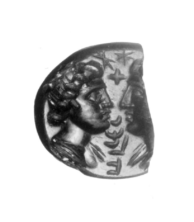 Intaglio gem, male and female head