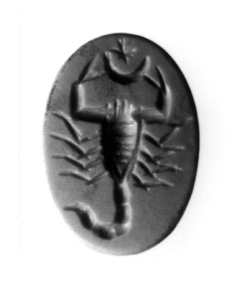 Intaglio gem, scorpion (Scorpio), halfmoon and a star (AN1890.271, record shot)