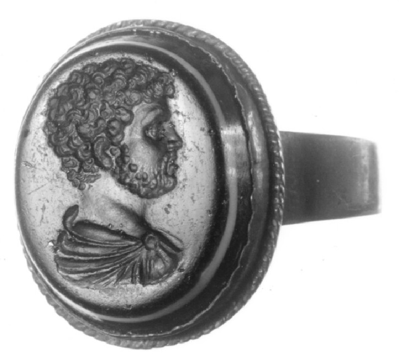 Intaglio gem set in a finger ring, Caracalla