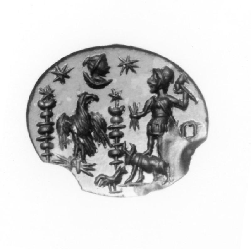 Intaglio gem, Jupiter Dolichenus on a bull