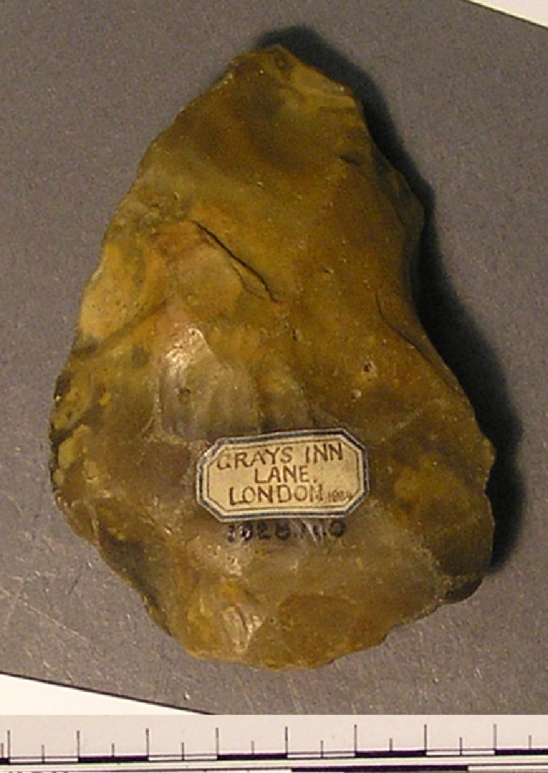 Grey Abbevillian handaxe (AN1928.140, record shot)