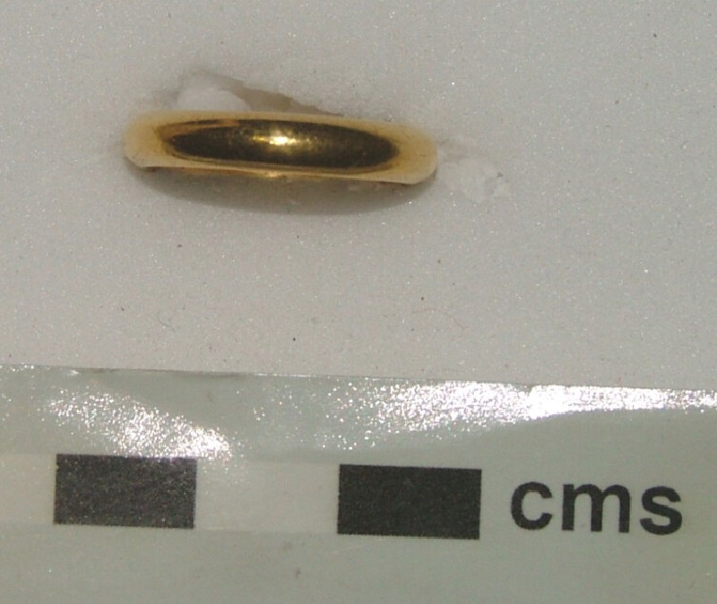 Gold posy ring with engraved circular hoop (AN1933.1584, record shot)