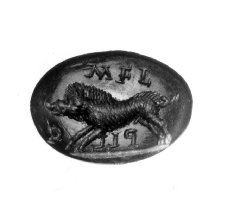 Intaglio gem, boar, with inscription (AN1941.324, record shot)