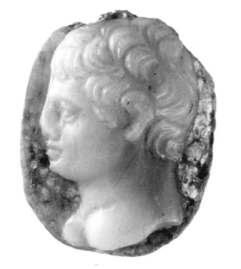 Cameo depicting a portrait bust of a male facing left (AN1941.402, record shot)