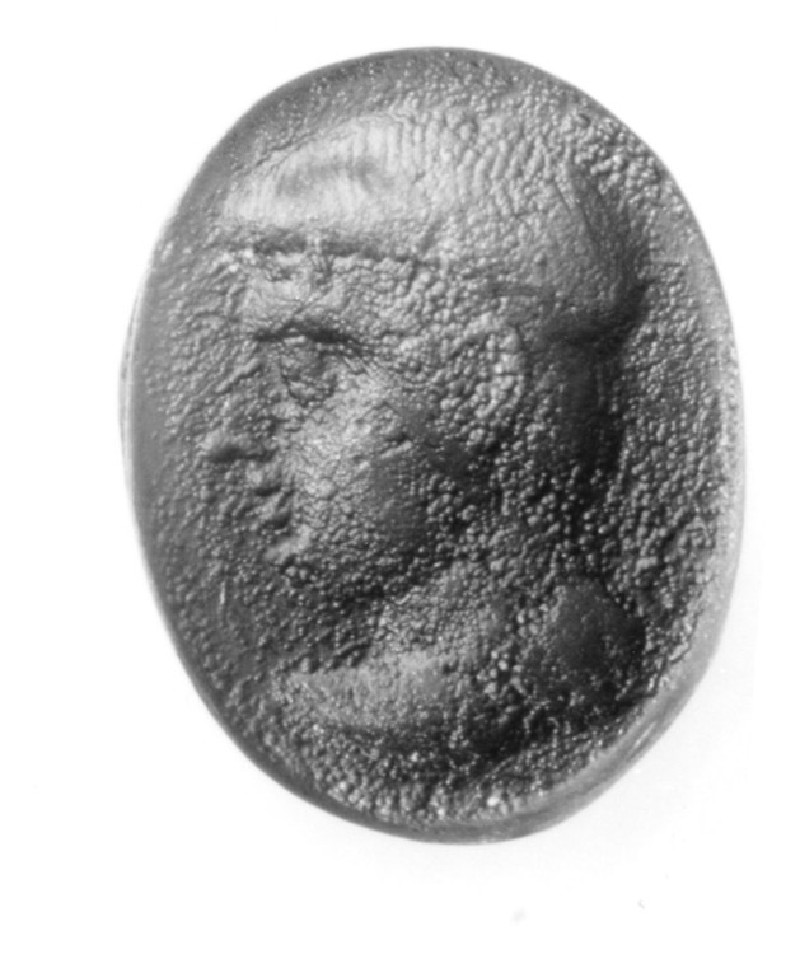 Intaglio gem, portrait head, male facing left (AN1941.448, record shot)
