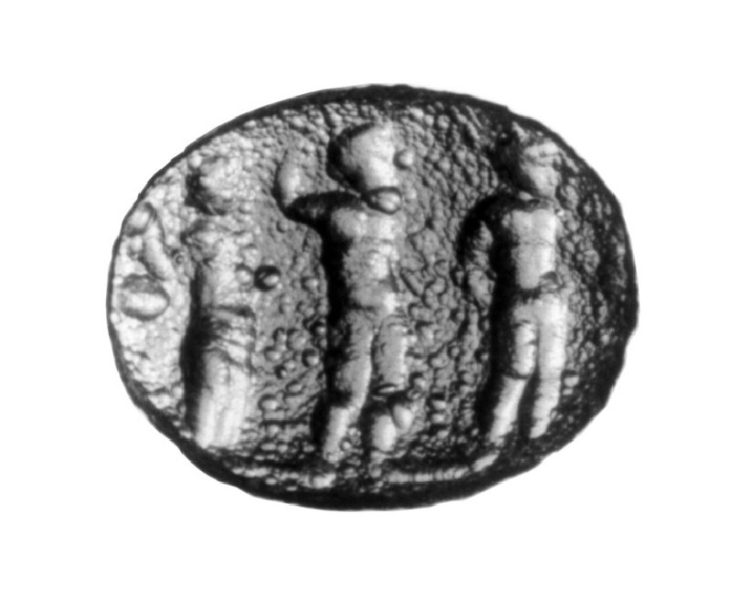 Intaglio gem, Hermes, Zeus and Tyche (AN1941.461, record shot)