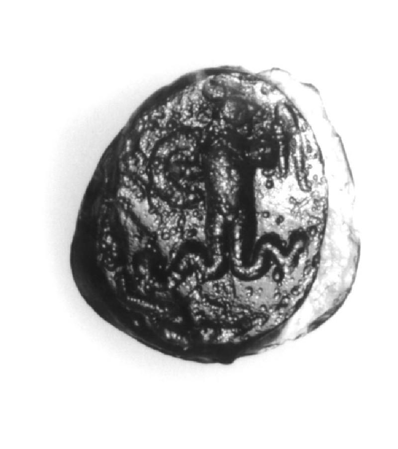 Magical intaglio gem, cockerel-headed anguipede (AN1941.471, record shot)