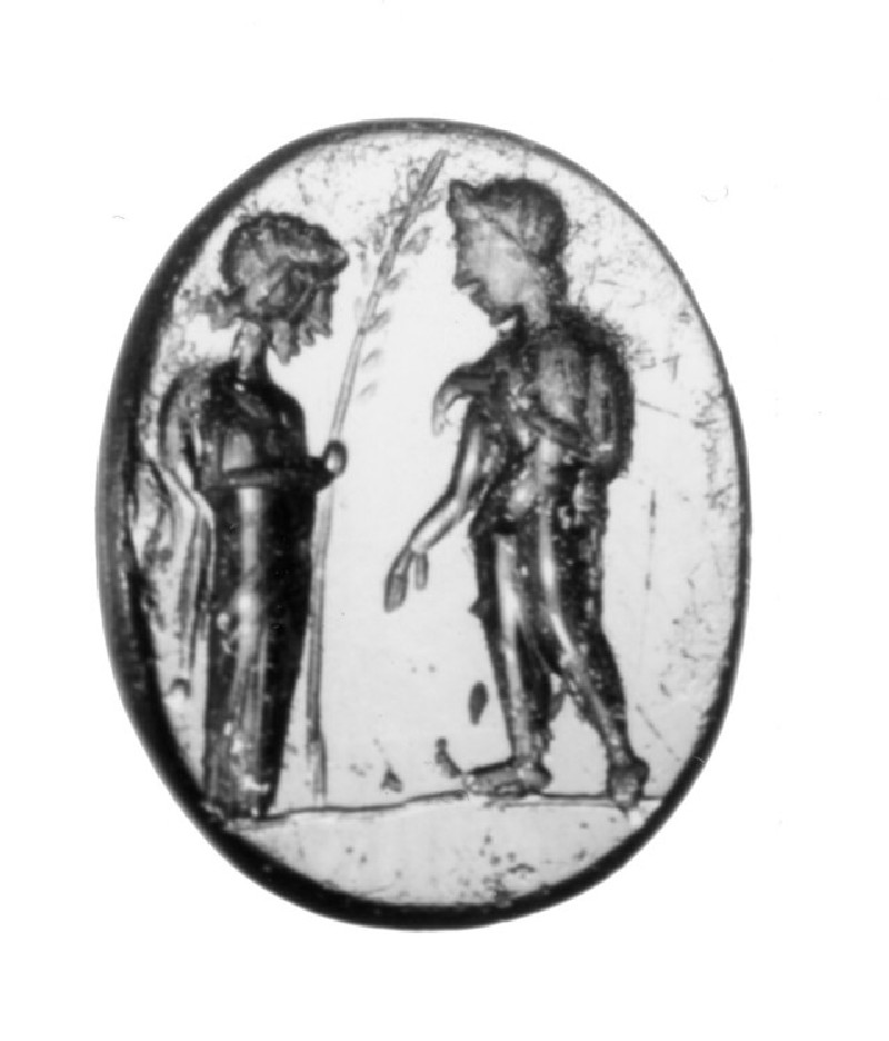 Intaglio gem, athlete being presented with palm branch from female (AN1941.526, record shot)