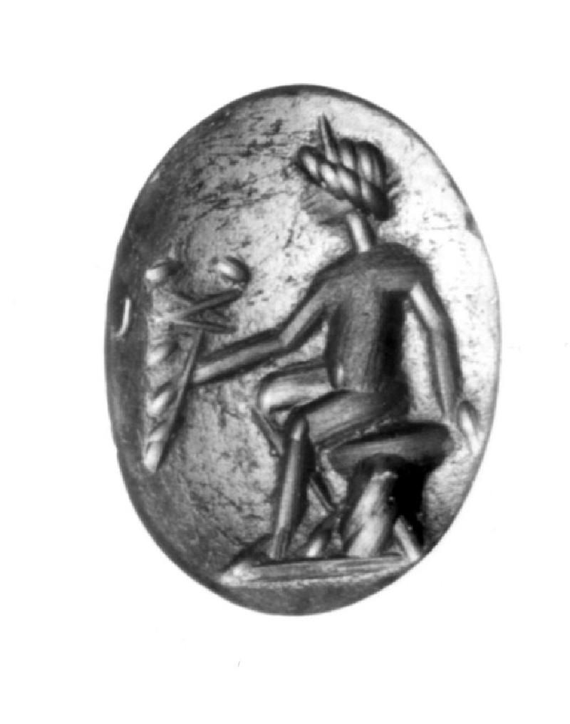 Intaglio gem, Hermes holding a kerykeion (AN1941.545, record shot)