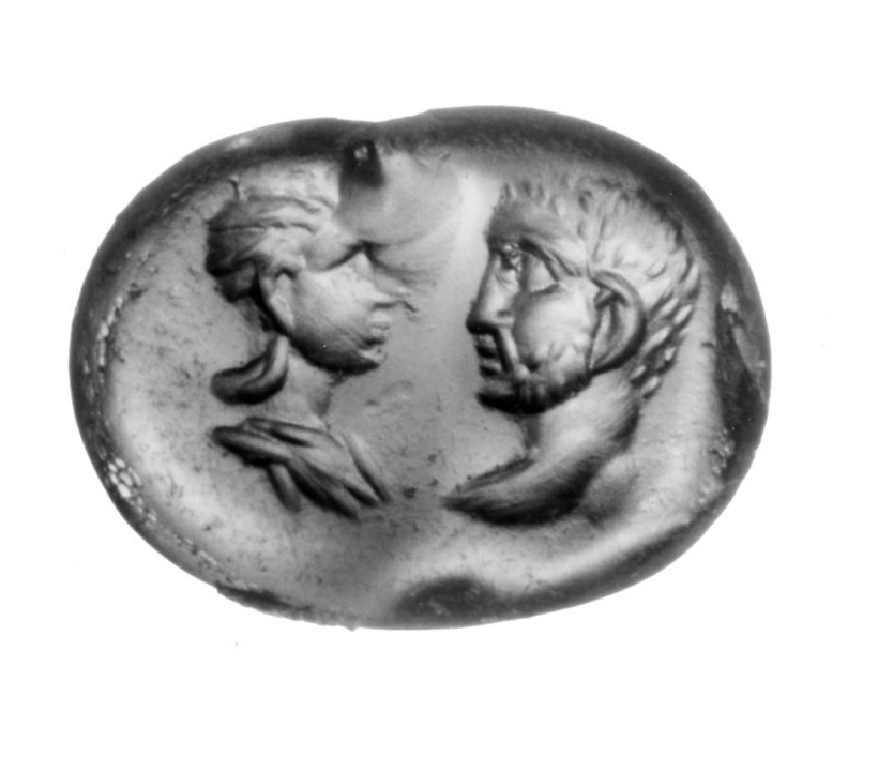 Intaglio gem, portrait heads, male and female