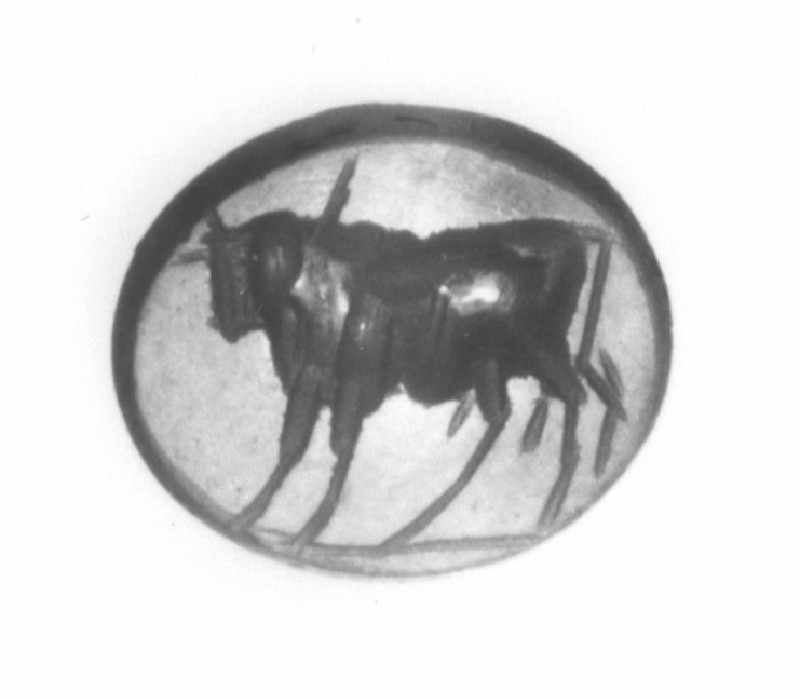 Intaglio gem, bull (AN1941.562, record shot)