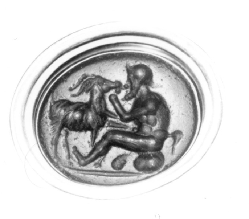 Intaglio gem, satyr with goat (AN1941.563, record shot)