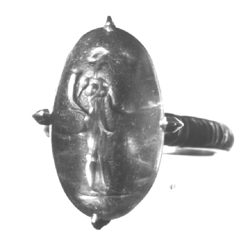 Intaglio gem in finger-ring, Tyche holding cornucopia and steering oar (AN1941.625, record shot)