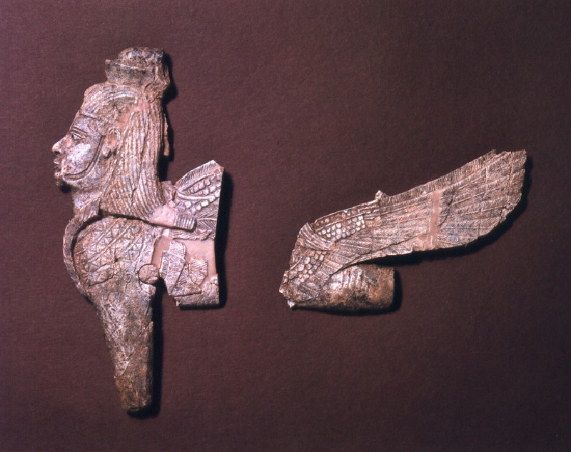 Ivory open work fragment depicting winged sphinx (AN1957.223, record shot)