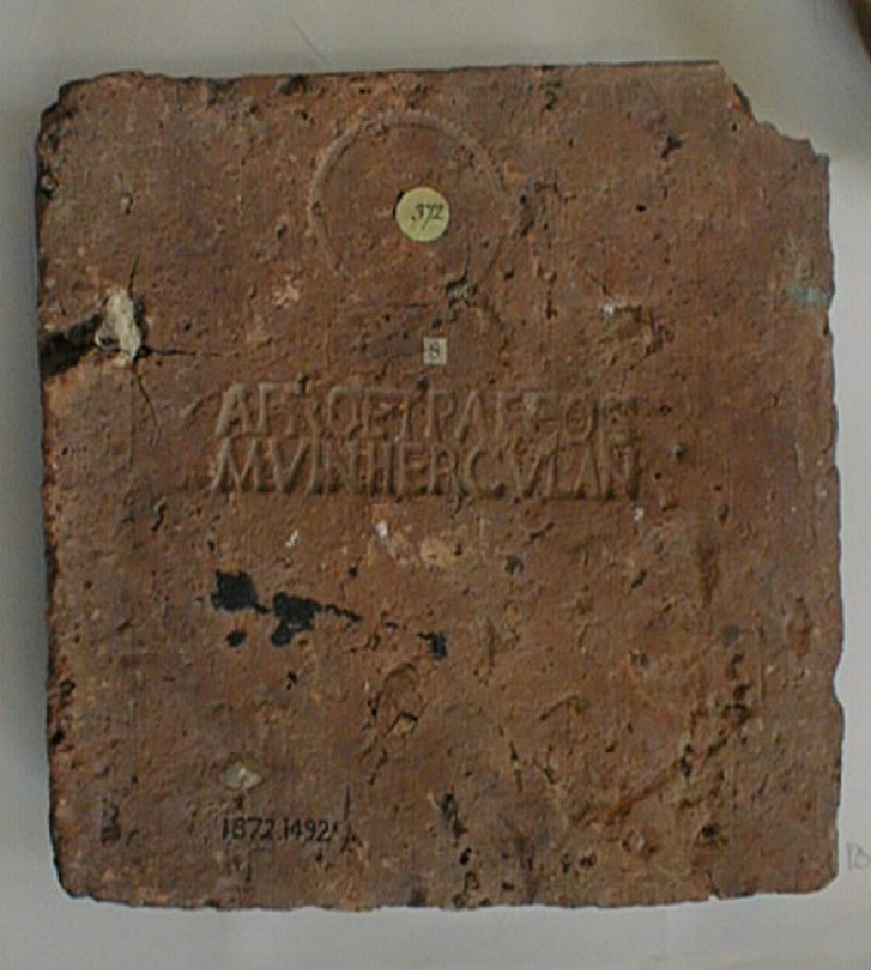Brick stamped with Latin script (AN1872.1492, record shot)