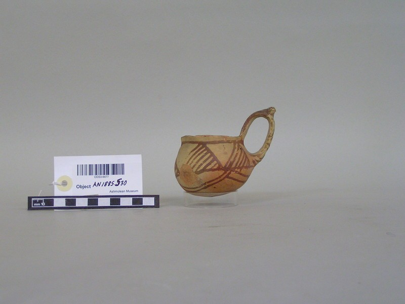White Painted dipper, cup with high handle