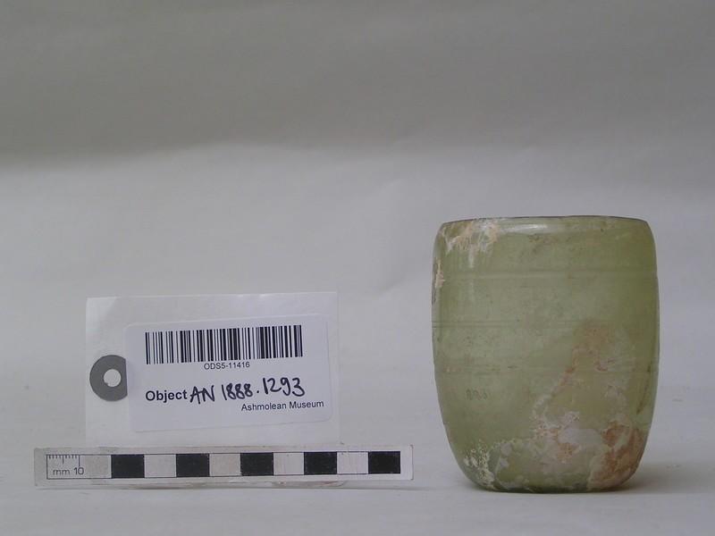 Glass beaker, greenish