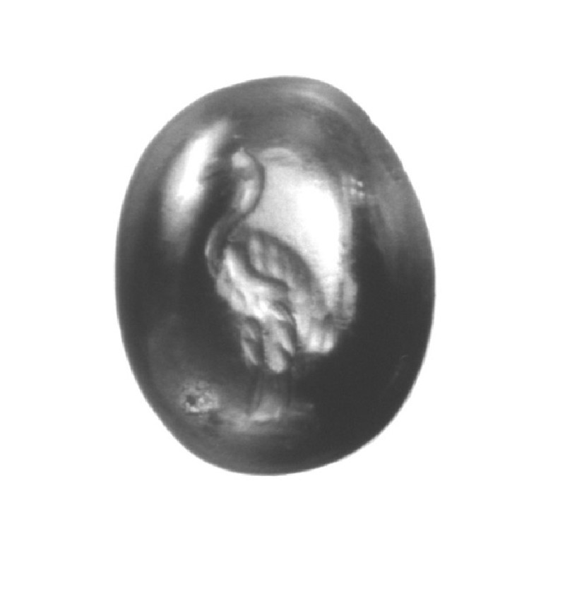 Citrine intaglio depicting an ostrich (AN1890.262, record shot)