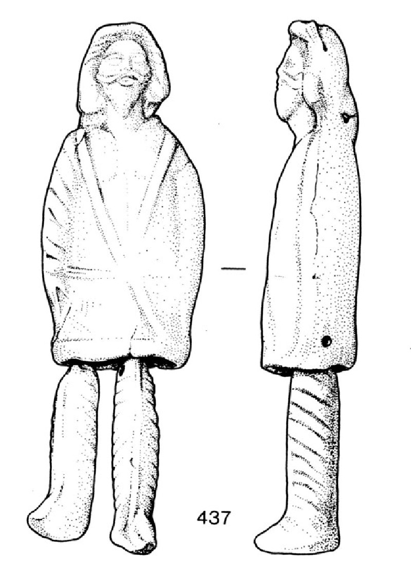 Painted terracotta figure of a bearded man in Persian dress with long trousers beneath his tunic, perhaps a doll from a grave