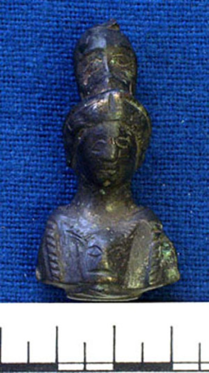 Bronze knife handle in form of Minerva with Gorgon head (AN1921.159, record shot)