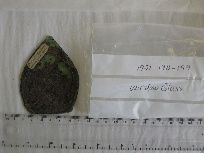 Fragment of green glass with fleur de lys pattern in black (AN1921.199, record shot)
