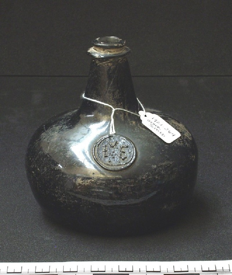 Glass 'onion' bottle with stamp (I.E.V)